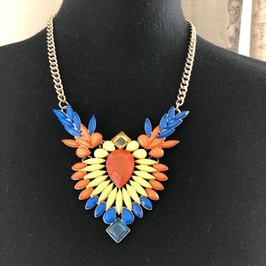 Charming Charlie Gold Tone Statement Necklace Blue